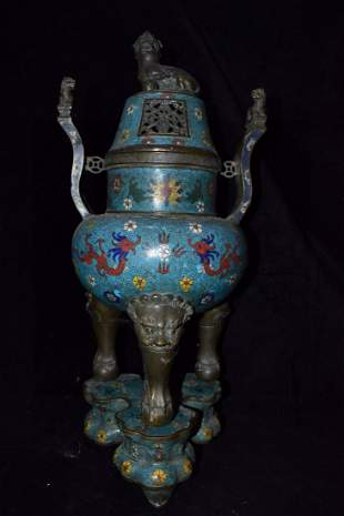 Old collection fine cloisonne seiko three-body incense