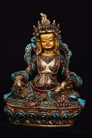 Tibetan silver handmade filigree heavy industry inlaid