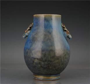 Mid-Qing Dynasty kiln changed sauce blue glaze deer
