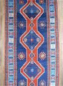 Antique Vabrant Blue Wool Caucasian Kazak Rug