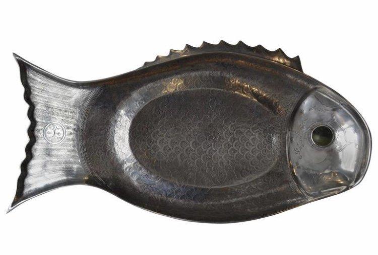 Polished Aluminum Fish Tray by Arthur Court 1975