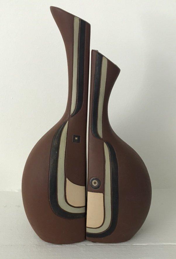 Mid Century Modern Fired Clay Vase, Hallmarked, 1960's