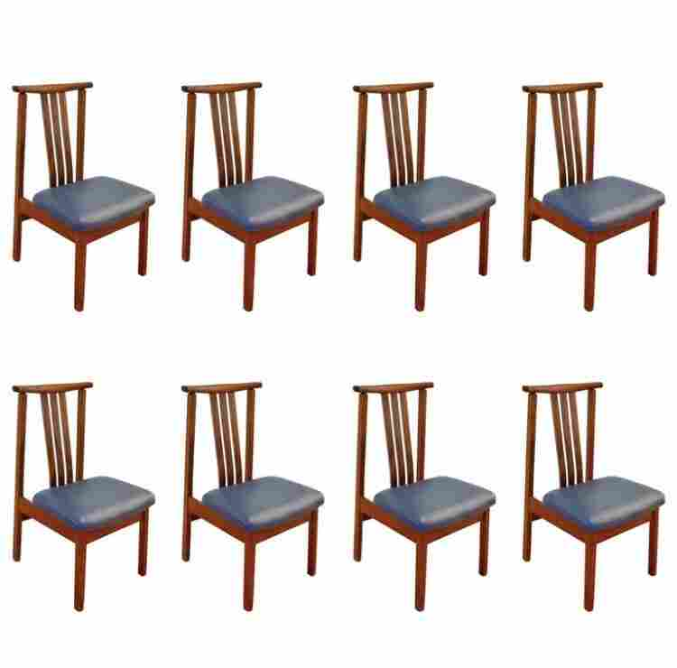 Set of Eight Mid Century Modern Teak Dining Chairs