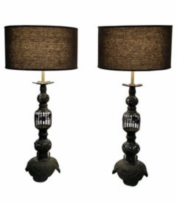Pair of Mid Century Large Black Iron Table Lamps, Japan
