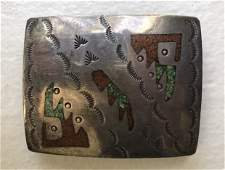 Sterling Silver Navajo Turquoise Coral Belt Buckle