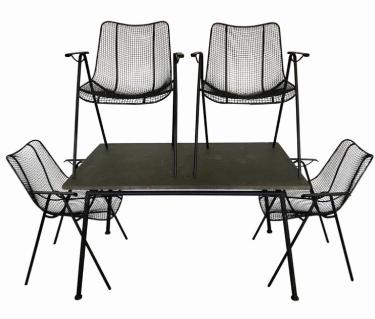 Mid Century Woodard Slate Top Patio Table and 4 chairs