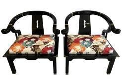 James Mont Black Lacquer Horseshoe Back Club Chairs
