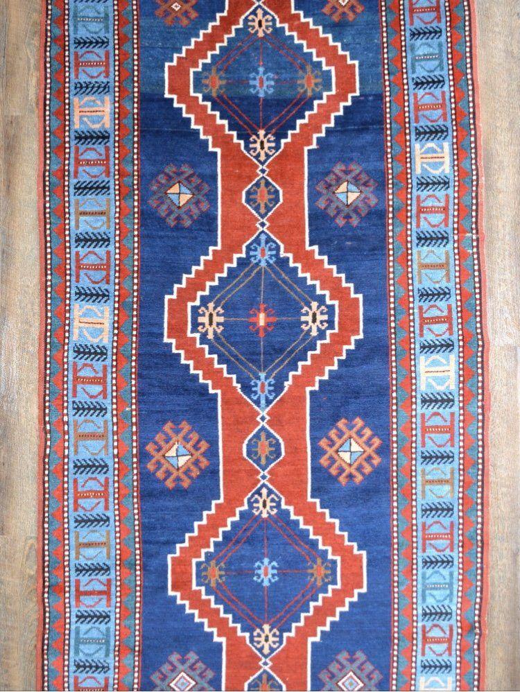 Vintage Vabrant Blue Wool Caucasian Kazak Rug