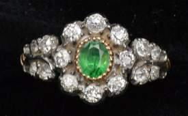 Tsavoriate garnet and diamond ring