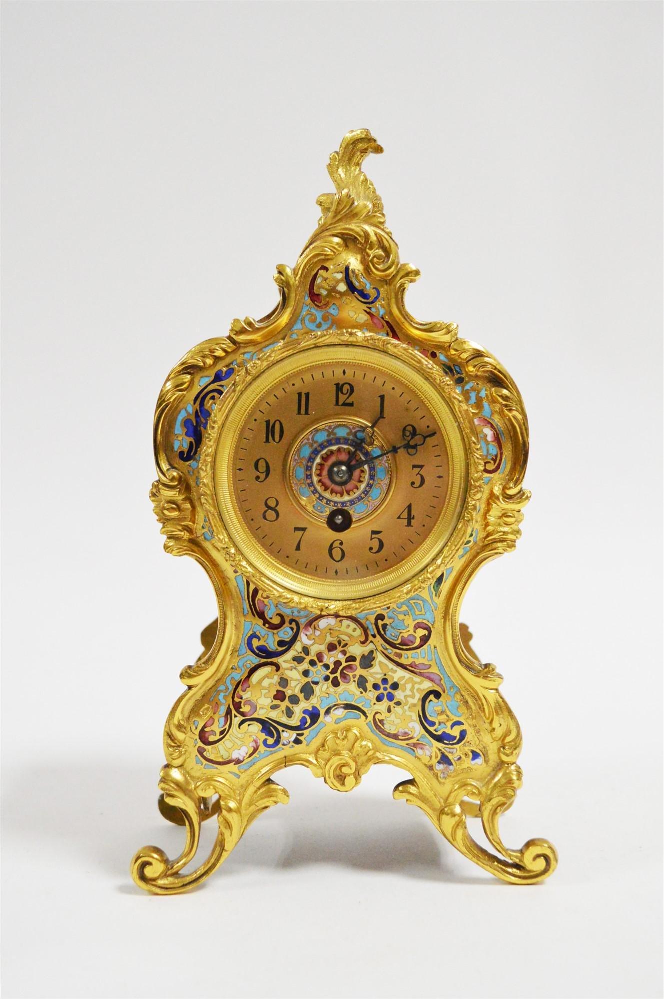 Champleve enamel mantel clock