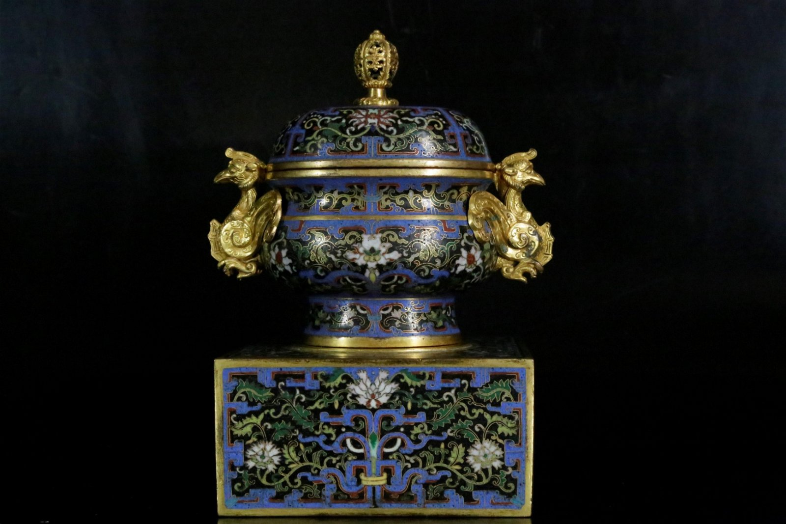 A gilt-bronze and cloisonne enamel  censer and cover
