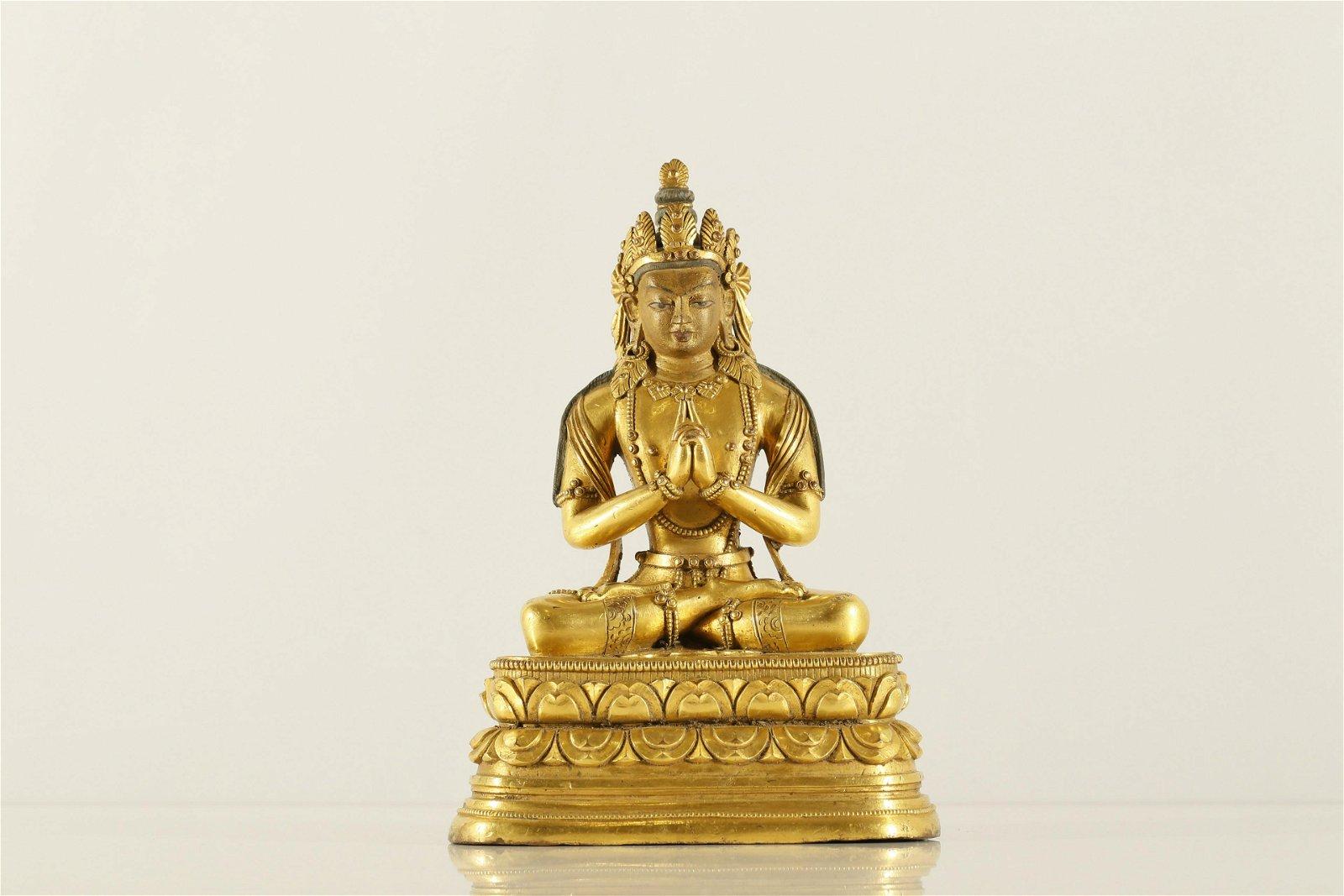A Rare and Well-cast  Gilt-bronze Figure of Bodhisattva