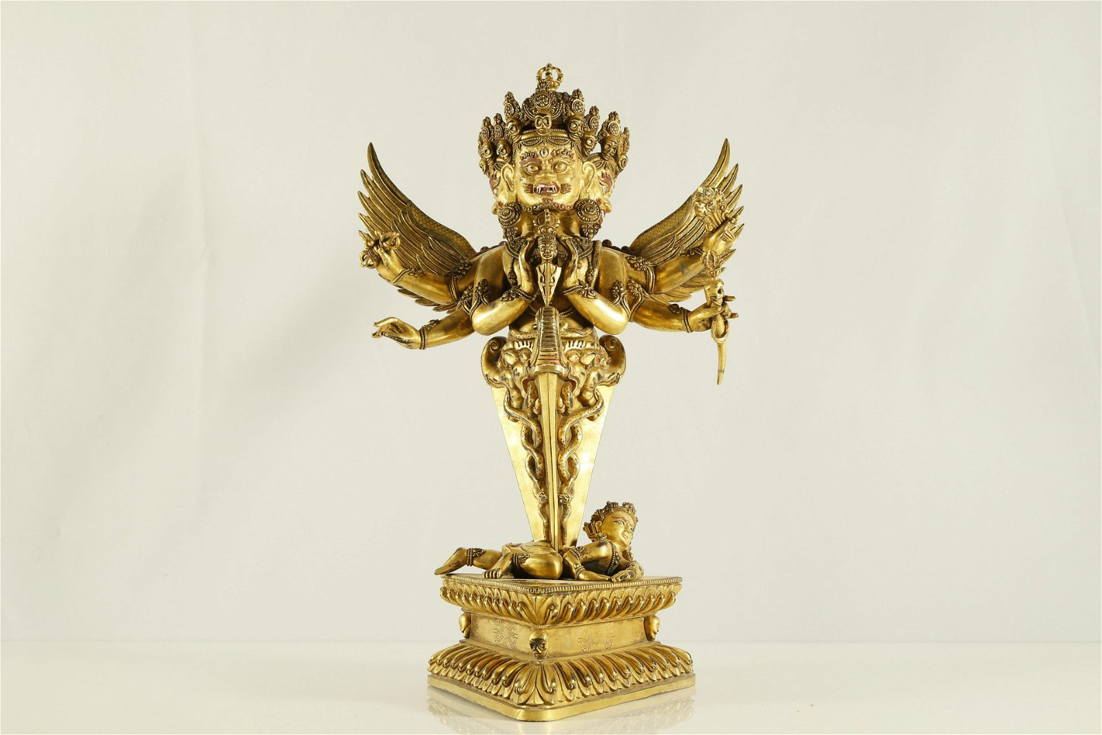 An Unusual Gilt-bronze Figure of Guardian
