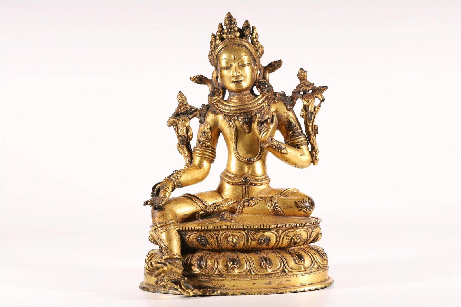 A Fine and Rare Gilt-Bronze Figure of Guanyin