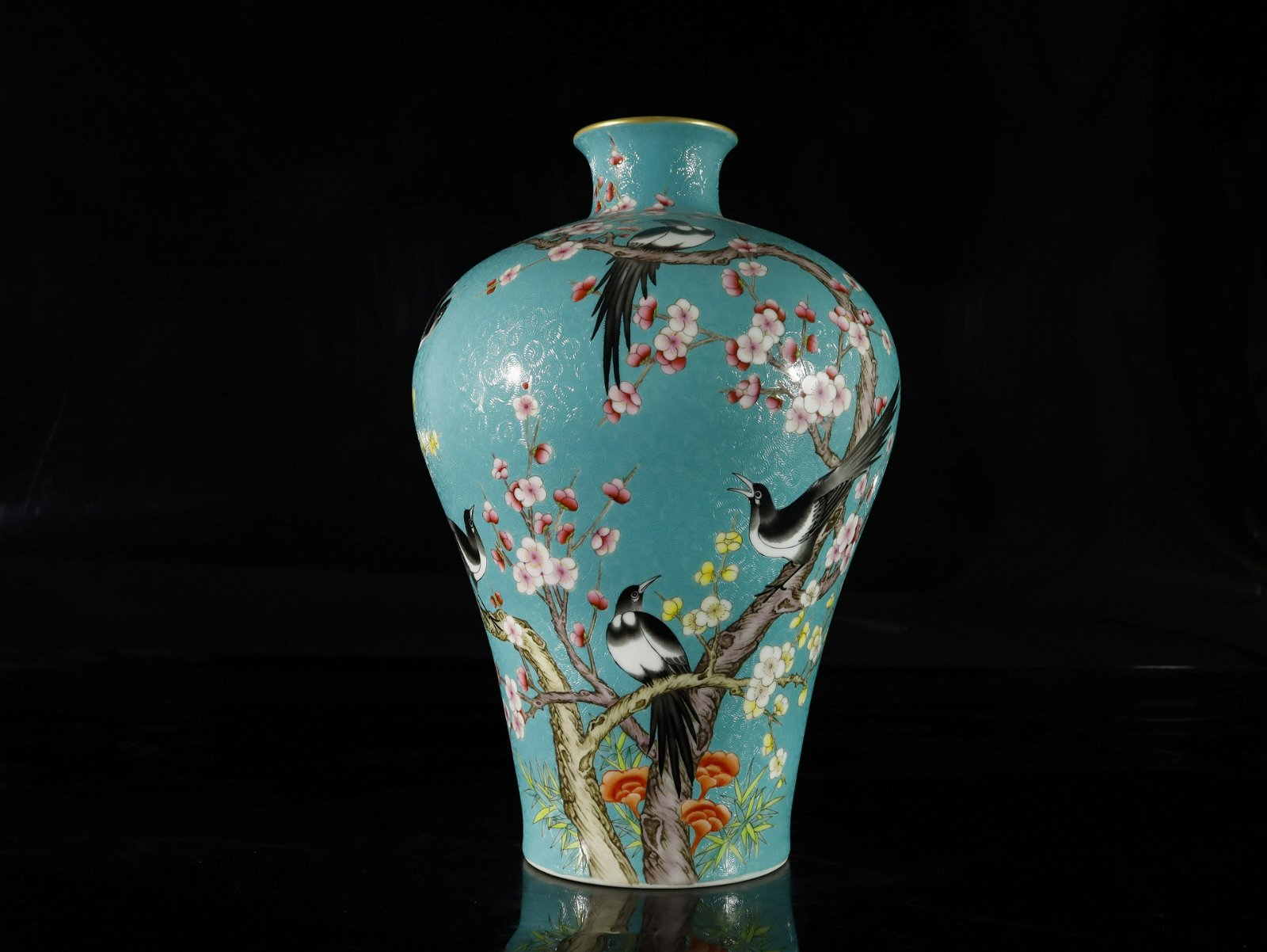 A turquoise-groud famille-rose 'flower and bird' vase