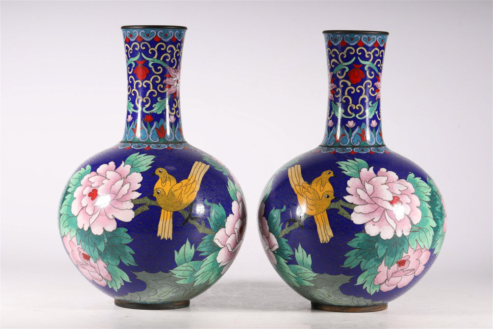 An Exceptional and Rare Pair of Cloisonne 'Flower and