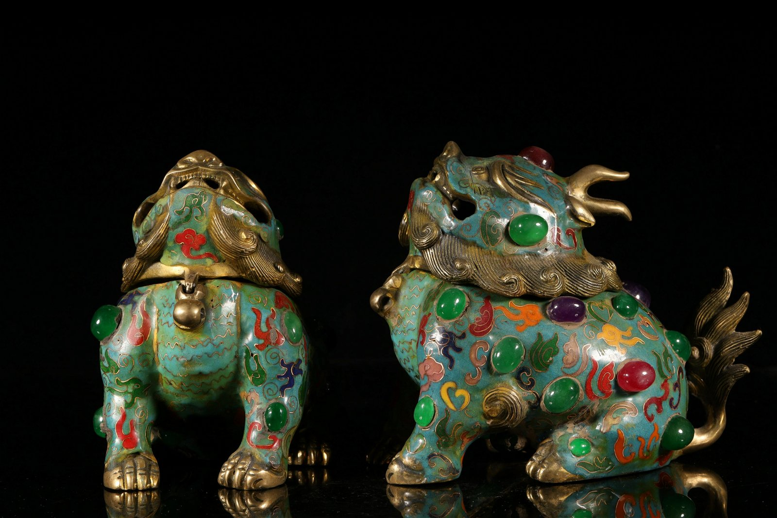 A Fine Pair of Cloisonne Censers Inlaid with Gems