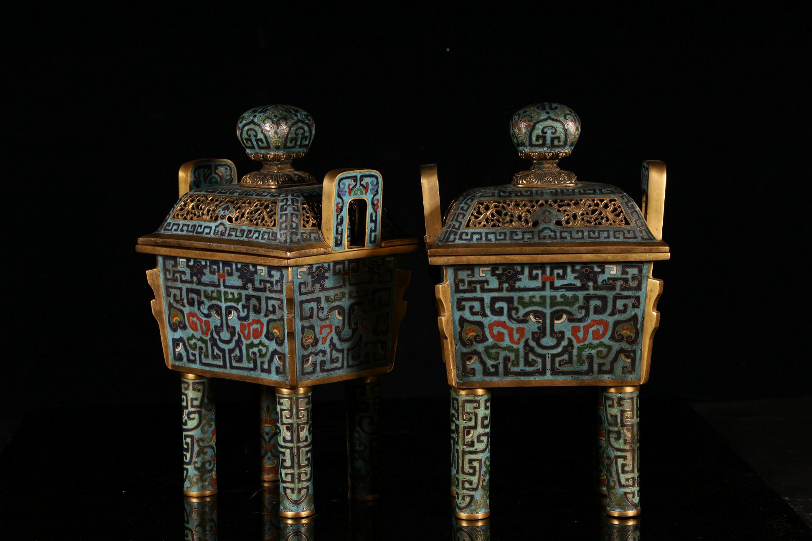 An Exceptional and Rare Pair of Cloisonne Censers