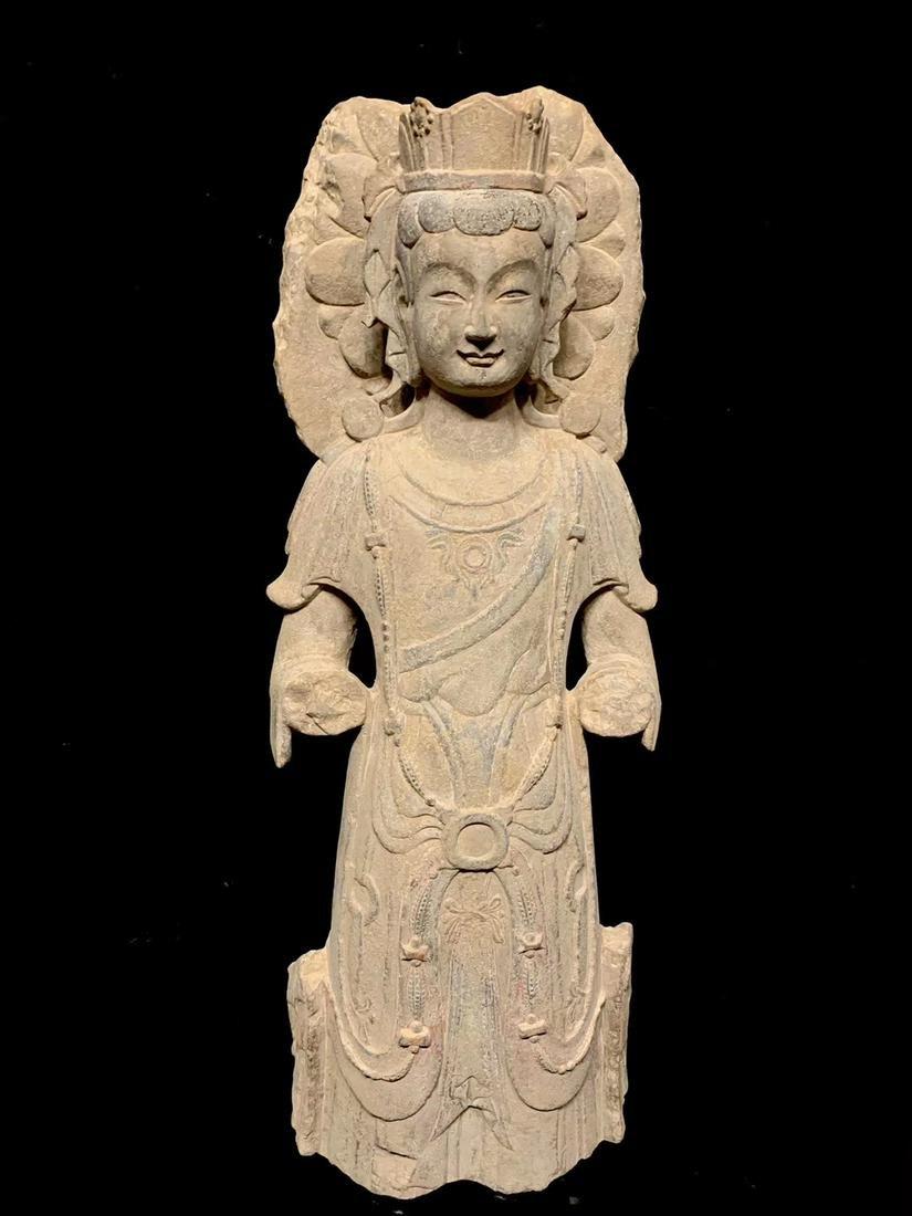 A Large Bluestone Figure of Standing Buddha