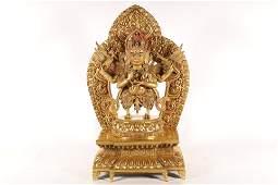 A Gilt-Bronze Figure of Guardian Buddha.