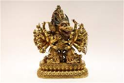 A Gorgeous Gilt-bronze Yamantaka