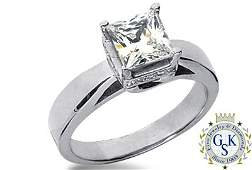 2461P: 1.46 CT K VS2 PRINCESS GIA DIAMOND SOLITARE RING
