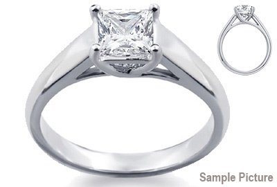 1025: 2.05 CT K SI1 PRINCESS DIAMOND SOLITARE RING