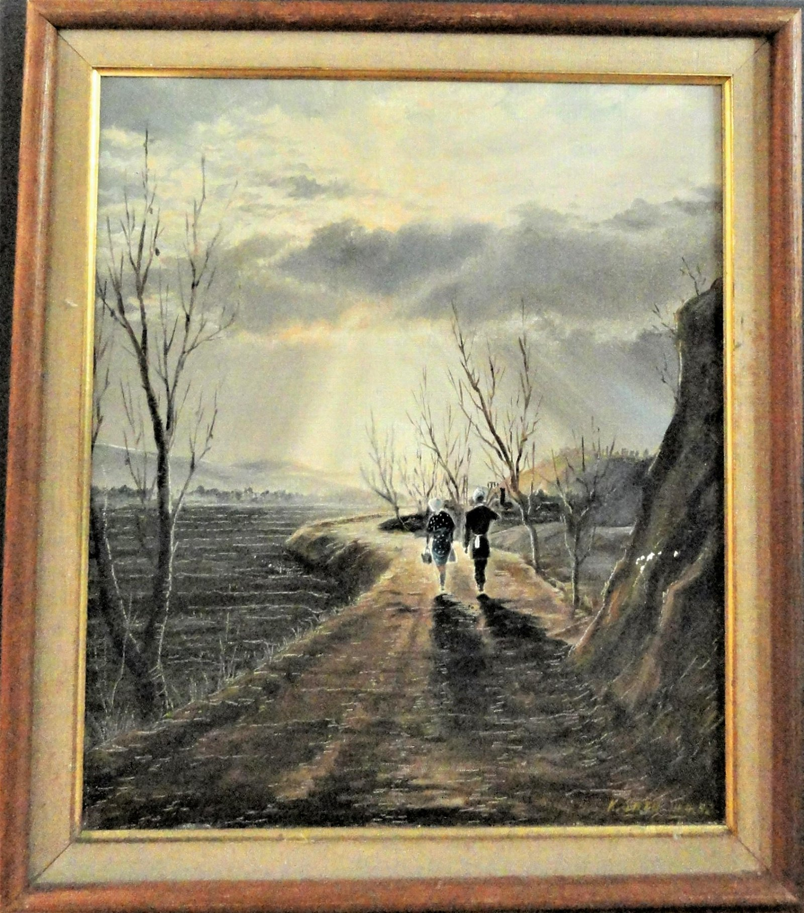 """K. Sato Luminist Painting """"Road to Hope"""" Signed dated"""