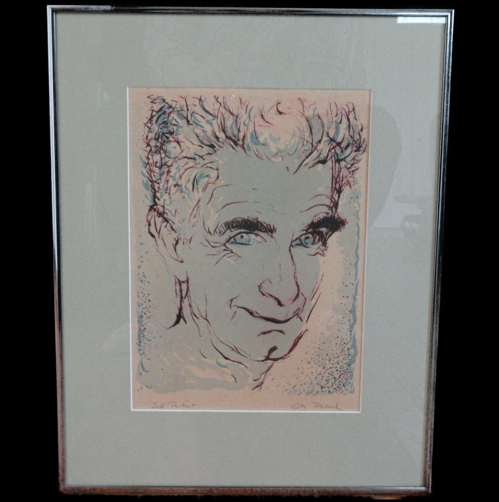 Otis Philbrick, Self Portrait, Woodblock Print, Signed