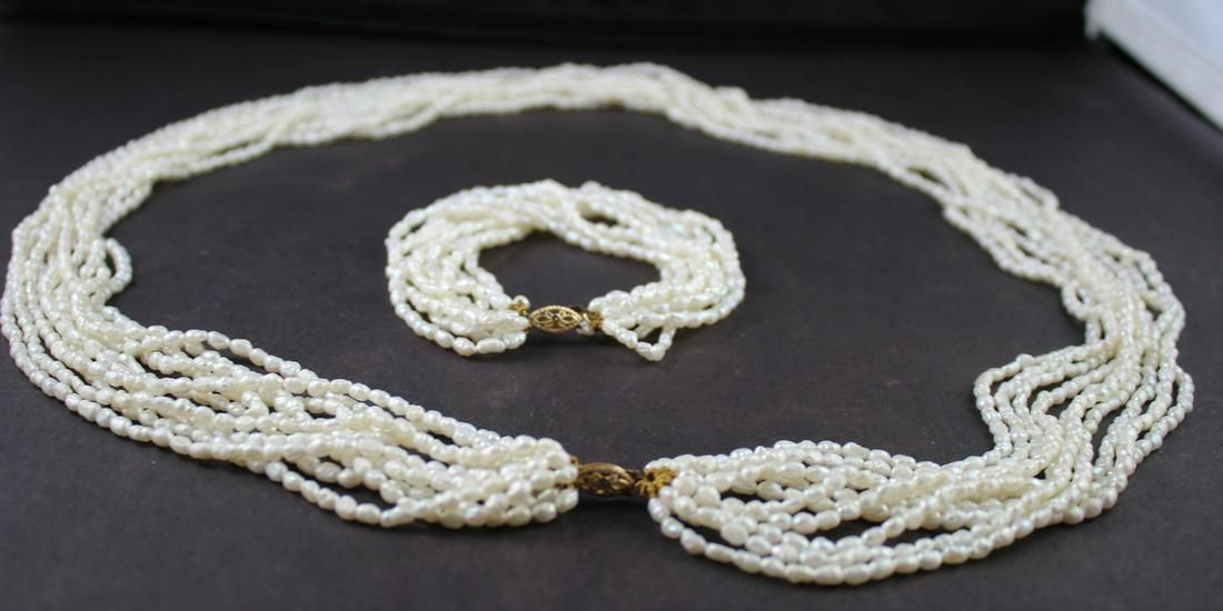 Natural Seed Pearl Set(2pc.)
