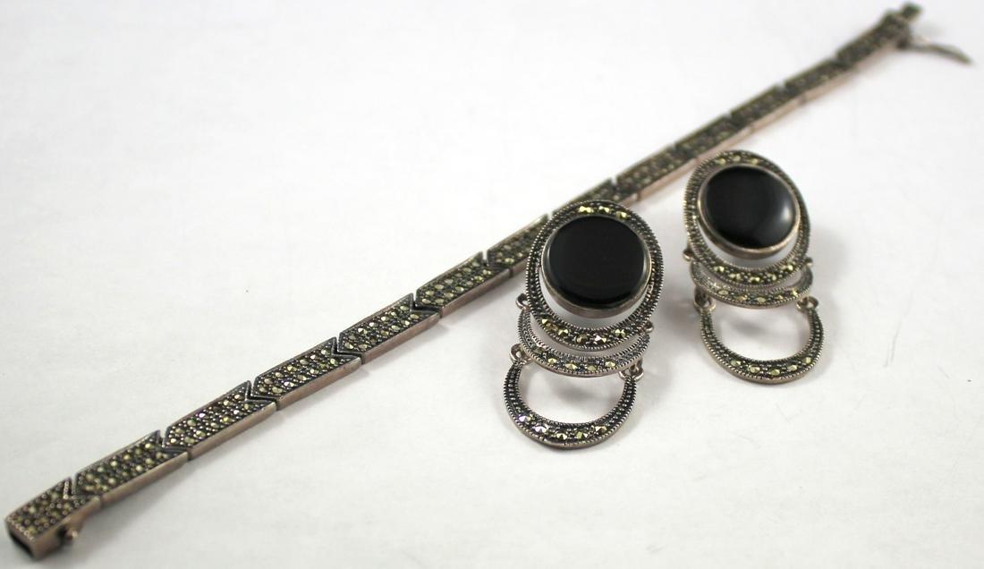 Sterling Silver Marcasite Bracelet & Earrings