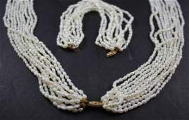 Seed Pearl Necklace and Bracelet.