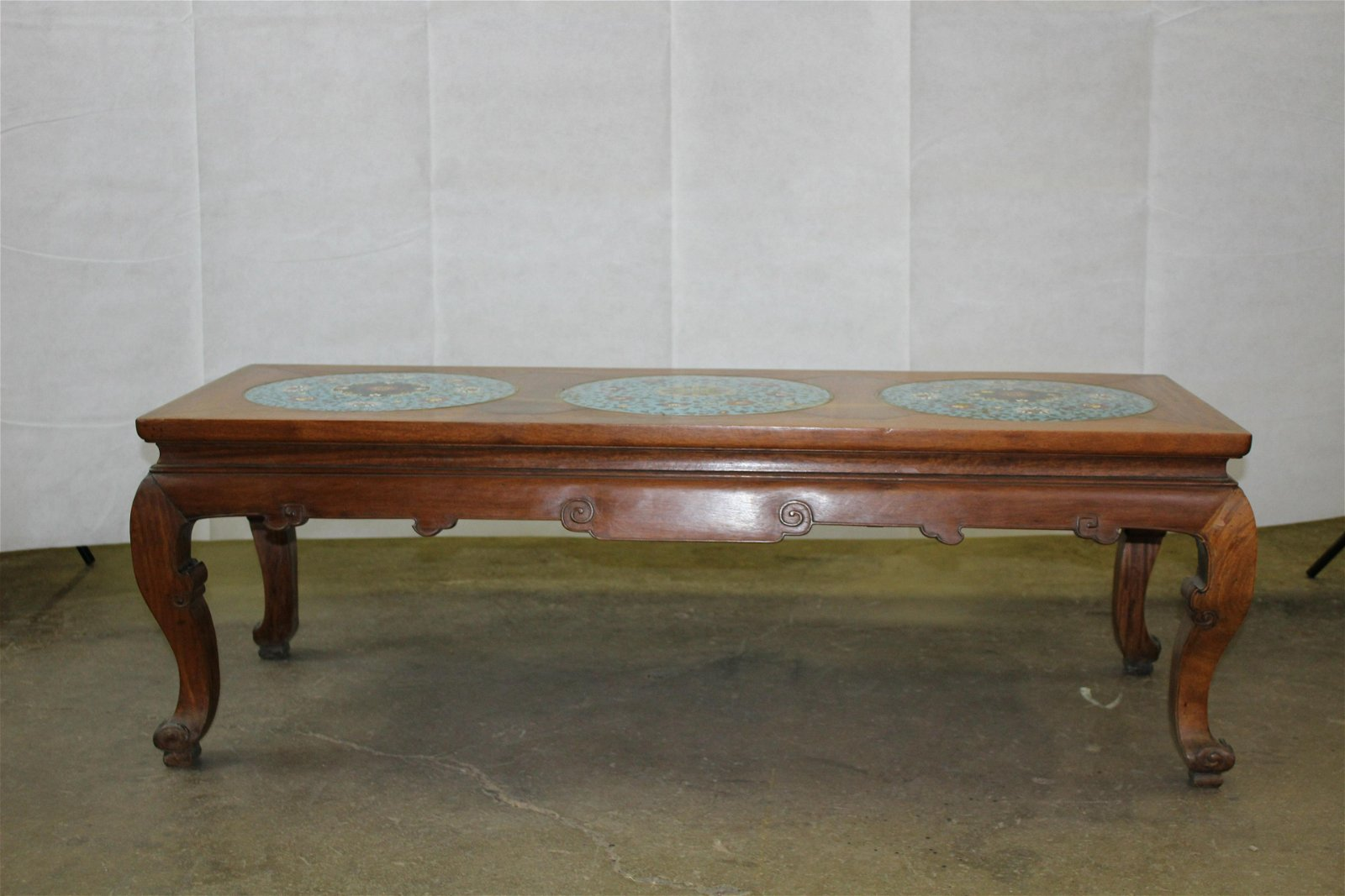 A Hongmu Coffee Table With Cloisonne Top