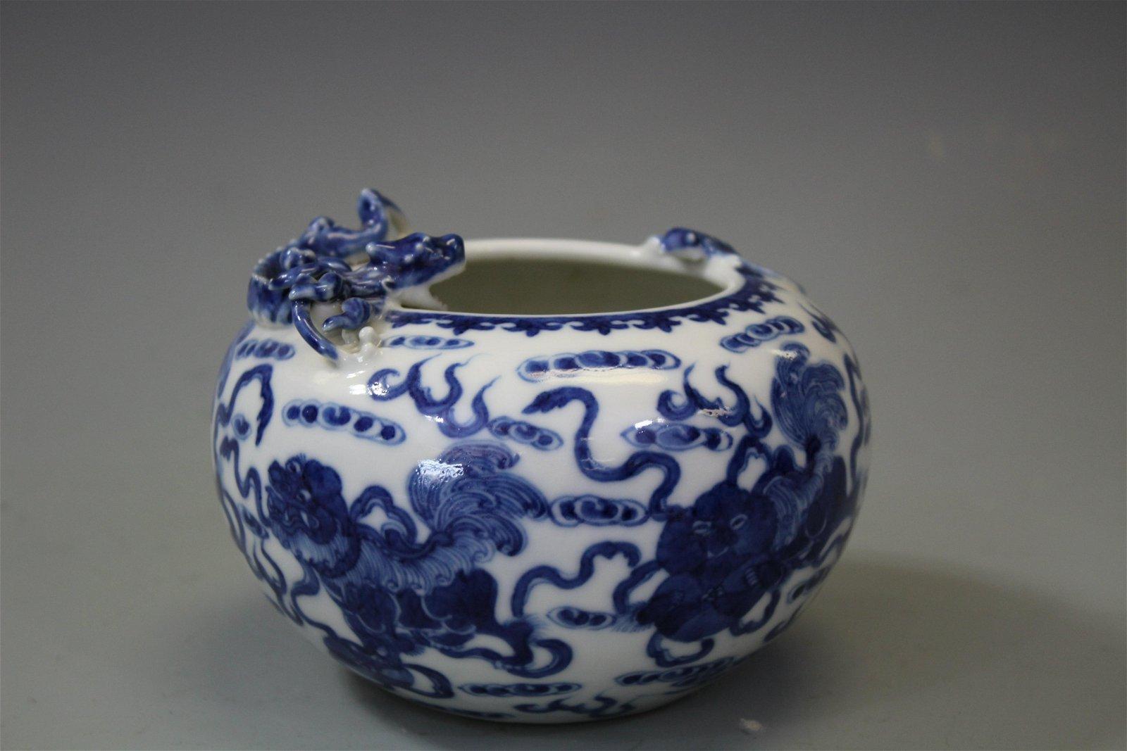 "A Blue And White ""Dragon"" Brush Washer, Marked Kangxi"