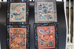 A Group of Four Embroidered Silk Panels, Qing Dynasty