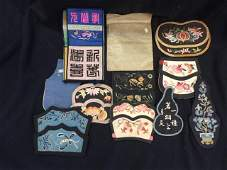 A Group of Eleven Pieces Silk Embroidery, Qing Dynasty