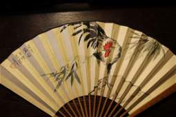"""A Fan Painting """"Rooster"""" Marked Xu Bei Hong"""