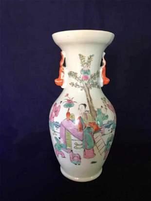 A Famille-Rose Vase, Late Qing Dynasty
