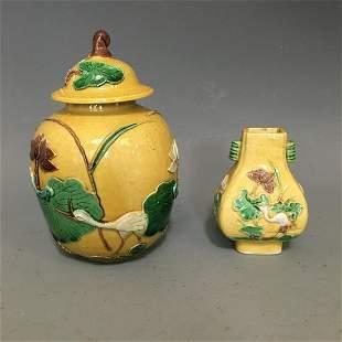 Two Sancai Porcelain Wares, Qing Dynasty