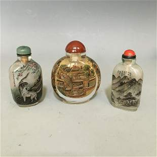 A Group Of Three Inside Painted Crystal Snuff Bottles,