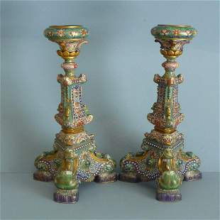 A Pair of Bronze Cloisonne Enameled Candlestick, Qing