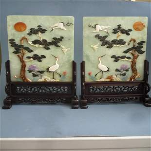 A Pair of Jade Carved Panels With Wooden Stands