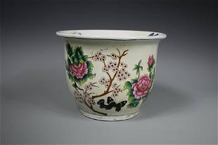 A Famille-Rose Jardiniere, Mid 20th Century