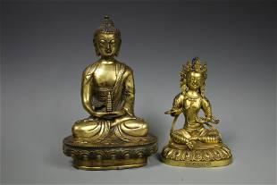 Two Gilt-Bronze Figures of Buddha Shakyamuni