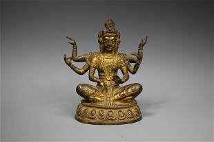 A Gilt-Bronze Figure of Buddha Shakyamuni, 18th Century