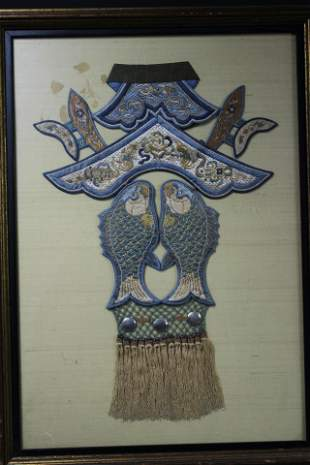 A Fine Chinese 'Double Fish' Embroidery, Qing Dynasty