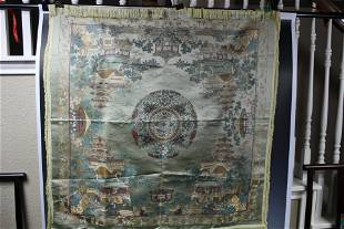 A Fine Chinese Silk Embroidery Table Cloth