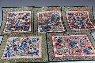A Group of Five Chinese Embroidery, Qing Dynasty