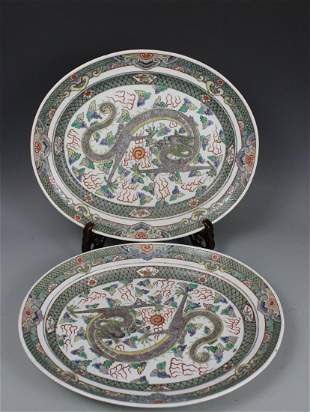 Two Large Famille-Verte 'Dragon' Chargers, Qing Dynasty
