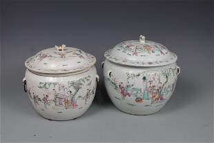 Two Famille-Rose Jars and Covers, Qing Dynasty